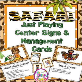 Safari Just Playing Center Signs and Editable Management Cards