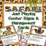 EDITABLE Center Signs / Posters | Safari or Jungle Themed Classroom Decor