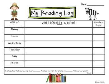 Safari Kids Reading Logs: Daily and Monthly Recording Sheets ELA