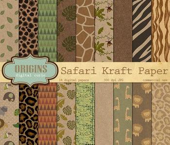 Safari Kraft Digital Paper Backgrounds - Baby Jungle Animal Patterns