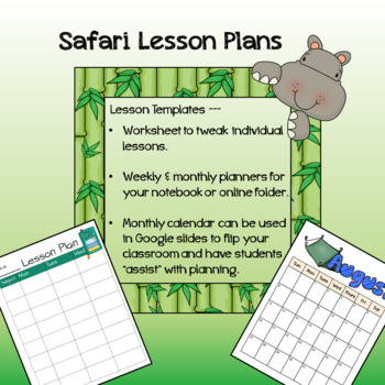 Safari / Jungle theme - Lesson worksheet, weekly, and monthly lesson plans