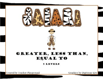 Safari Math Games: Greater Than, Less Than, Equal To (5 Levels)