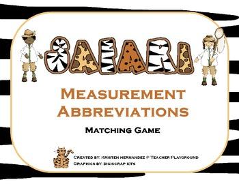 Safari Measurement Abbreviations Matching Game