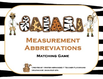 Safari Measurement Abbreviations Matching Game