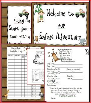 Safari Meet the Teacher Welcome Outback Adventure Packet