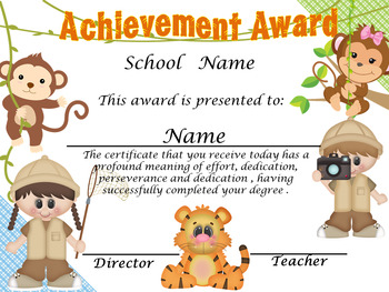 Safari Monkeys Achievement Award English & Spanish version Editable!!!!!
