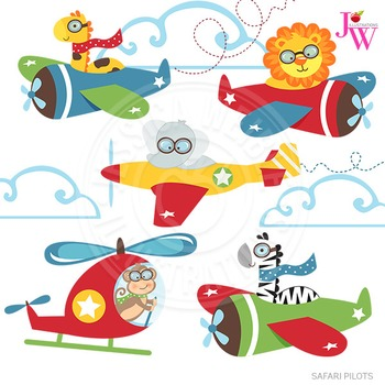 Safari Pilots Cute Digital Clipart, Flying Graphics