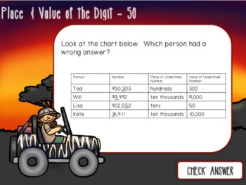 Safari Place Value Jeopardy Review Game