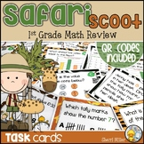 1st Grade Math Skills Review Task Cards and Scoot Game   Distance Learning