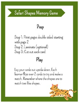 Safari Shapes Memory Game
