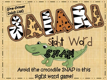 """Safari Snap"" Pre-Primer Dolch Sight Words"