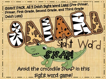 Safari Snap Sight Word Games Giant Pack ALL 5 DOLCH SIGHT WORD LISTS