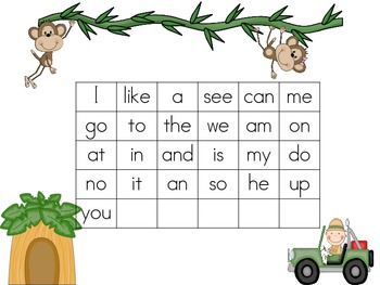 Safari Table Mat with sight words