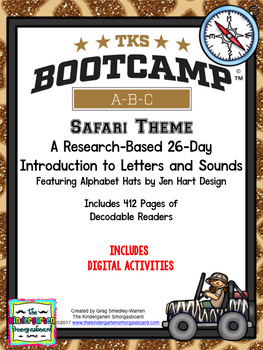 Safari ABC BOOTCAMP & HATS!  Editable 26 Day Introduction To Letters And Sounds!