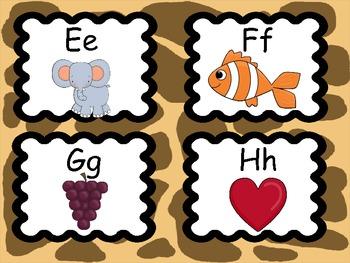 Safari Theme Alphabet Cards, Large and Small