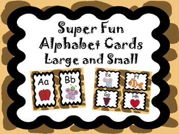 Safari Theme Alphabet Cards, Large and Small