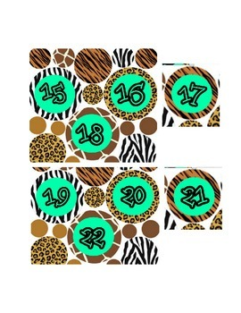 Safari Theme Animal Print Numbers