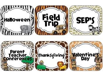 Safari Theme Calendar Cards {EDITABLE}