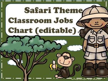 Safari Theme Classroom Jobs Chart