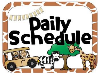 Safari Theme Daily Schedule | Analog & Digital