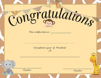 Safari Theme Preschool Certificate