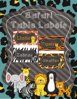 Safari Theme Table Labels/Team Labels