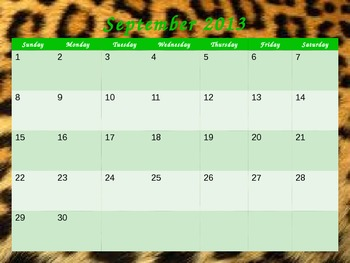Safari Themed 2013-2014 Calendar