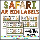 Safari Themed Accelerated Reader (AR) Classroom Library EDITABLE Book Bin Labels