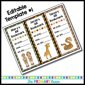 Safari Themed Accelerated Reader EDITABLE Classroom Bookmarks