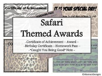 Safari Themed Awards