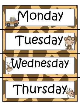 Safari Themed Daily Schedule Cards