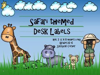 Safari Themed Desk Name Plate Labels