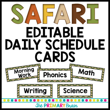 Safari Themed Editable Daily Schedule Cards