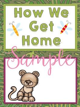 Safari Themed Classroom Decor:  Editable Go Home Signs