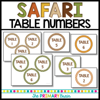 Safari Themed Editable Table Numbers