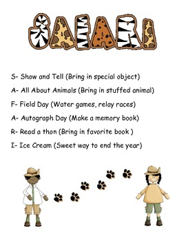 Safari Themed End of the Year Rewards