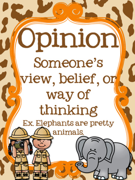 Safari Themed Fact or Opinion Posters {FREEBIE}