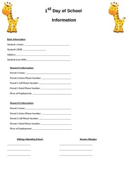 Safari Themed First Day of School Information Sheet for Pa