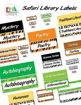 Safari Themed Library Labels