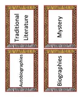 Safari Themed Library Tags