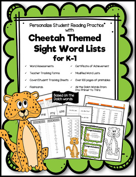 Cheetah Themed Sight Word Lists for K-1