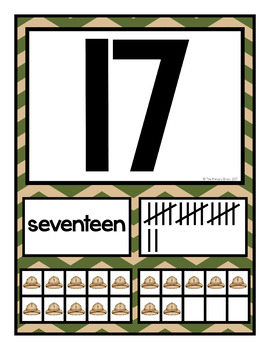 Safari Themed Number Card Posters from 1-20