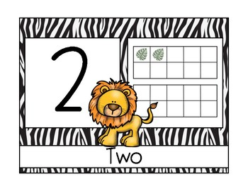 Safari Themed Numbers 1-20 in Color and Black and White