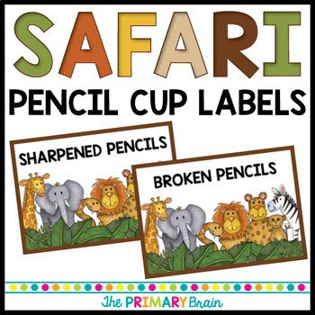 Safari Themed Pencil Cup Labels Freebie