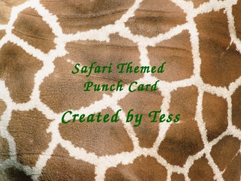 Safari Themed Punch Cards
