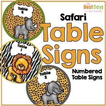 Safari Themed Table Signs