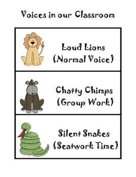Safari Themed Voice Level Chart