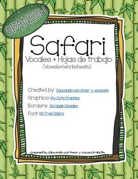 Safari Vowels Posters plus Worksheets (SPANISH)