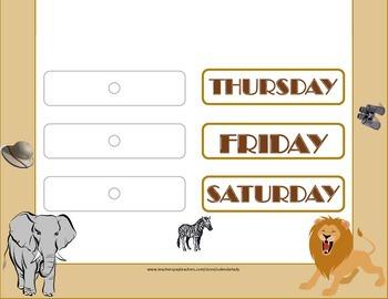 Safari Weekday Chart! Safari Bulletin Board! African Safari Theme! Safari Days!