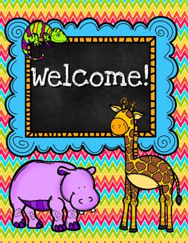 Safari Welcome Sign for Classroom